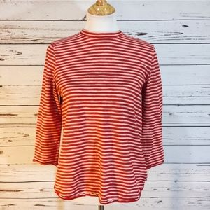Free People Open Back White and Red Stripped Tee